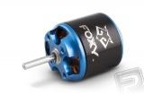 Střídavý elektromotor s rotačním pláštěm pro modely letadel: větroň 800g, trenér 700g, akro 600g, 3D 400g, KV1000 ot./min na V, napájení Lixx 2-3s, hřídel 3.0 mm. Včetně unašeče pro pevnou vrtuli a sady pro zadní montáž FOXY